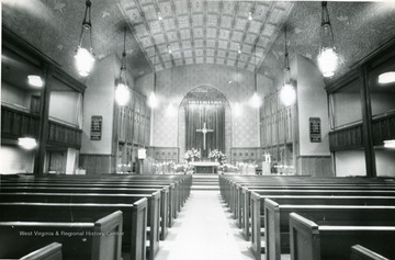 Interior of Wesley Methodist Church located on the corner of High Street and Willey Street. 'Easter of 1960'.