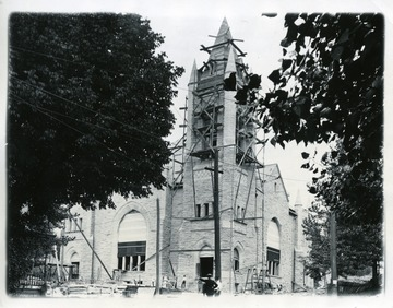 Construction of the Wesley Methodist Church on Willey Street in Morgantown, West Virginia.