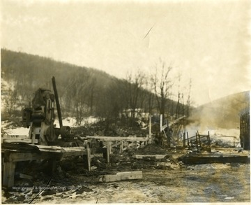 Construction scene including equipment and wooden platforms, Morgantown, W. Va.