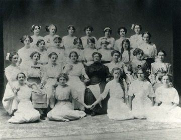 Group portrait of female members of the Sunbeam Philothea class at the Spruce Street United Methodist Church.