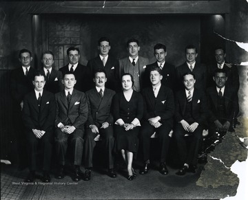 Group portrait of members of the Hillel Foundation located on University Ave. in Morgantown, W. Va.