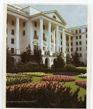 'North portico of the Greenbrier Hotel, world famed spa and summer White House for many U.S. presidents, at White Sulphur Springs, West Virginia.'