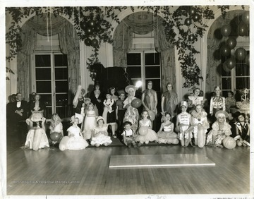 A group photo of children who participated in the Annual Children's Fancy Dress Ball at the Greenbrier in White Sulphur Springs, West Virginia.