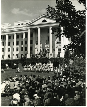 Participants and audience for the first annual Greenbrier Music Festival held on the North Lawn of the Greenbrier Hotel.