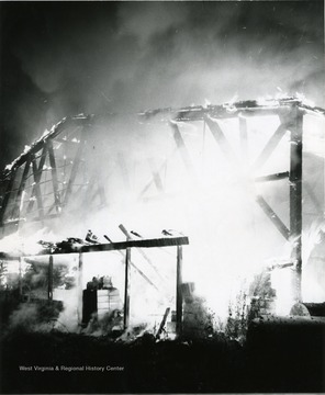 Structure of an unknown building in flames, Morgantown, W. Va