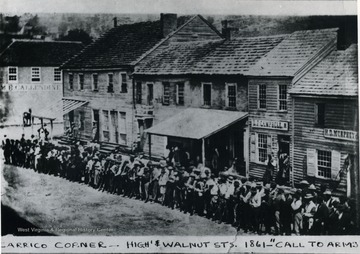 Volunteers assemble for Union service at the corner of High and Walnut Street, opposite of the Court House in Morgantown, West Virginia.