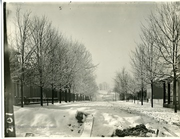 'South view of High Street near the Post Office and Montgomery Ward Store.' A view of High Street on a snowy winter day before 1926, because the High Street Bridge wasn't built yet.