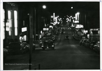 High Street North looking South at night in Morgantown, West Virginia; John Foster: 02/17/69.