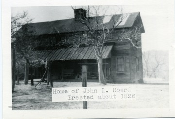 The home of John L. Hoard was erected about 1926 in Morgantown, West Virginia.
