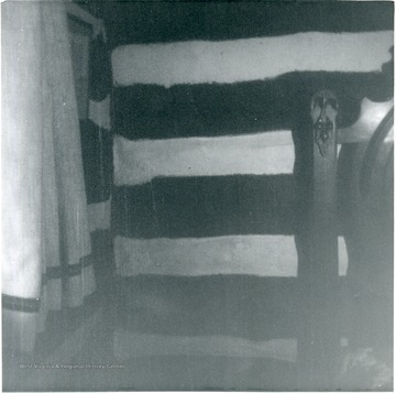 'Inside of bedroom, second floor of Cyphert home- original log cabin. Former Stagecoach sotp. On Fairchance Road, left, just before West Virginia-Pennsylvania state line.'