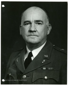 A portrait of Major General C. T. Harris, Jr., Chief of Industrial Service, Office of the Chief of Ordnance; 'No objection to reproducing or publishing this picture provided credit line 'Photo By U.S. Army Signal Corps' appears on the photograph or page, except that permission must be obtained from the War Department if it is desired for use in commerical advertising.'