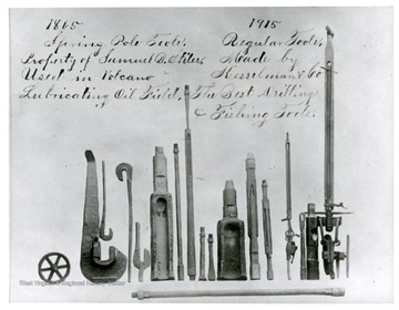'Early tools used in the Volcano fields. Originals in Marietta, Ohio museum.'