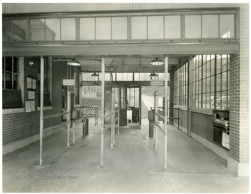 Main Entrance Service Bldg. No. 401, Looking West. From Volume One of Morgantown Ordnance Plant Pictures at Morgantown, W. Va.  Constructed and Operated by the Ammonia Department, E. I. Dupont De Nemours and Company. Administrative and Maintenance.