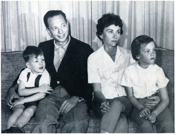 From left to right, Tommy Knotts, Don Knotts, Kathryn Elaine Metz and Karen Knotts. Photo from the West Virginia University Alumni Magazine, Summer of 1961.