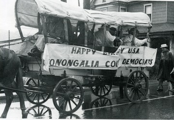 Covered wagon of the Monongalia County Democrats in the Bicentennial Parade.