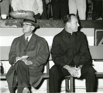 Inscribed on the photogargph,'David Christopher, old graduate, left; one of the Catholic Campus Ministers on the right.'