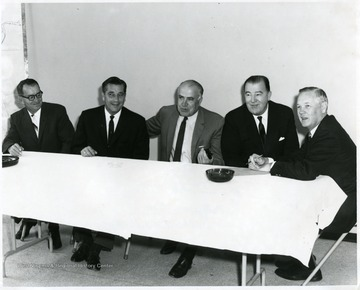'From left to right: unknown, unknown, Dyke Raese, Jennings Randolph, Hulett Smith, Gov.'