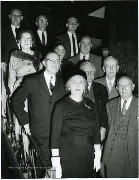 First row: Mabel Stoyer.  Second row: unknown, unknown, Prof. Arthur A. Hall.  Third row: all unknown.  Fourth row: Hugh Runner, unknown, Charles Shetler.