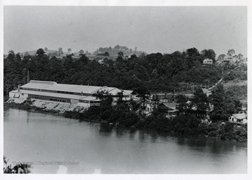 A view of the Star City Glass Factory and the Monongahela River in Morgantown, West Virginia.