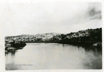 'Looking north east to Sunny Side stadium and University Buildings from Monongahela River Bridge.'