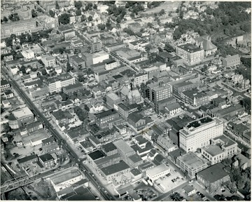 An aerial view of the Morgantown business district.