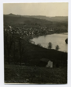 'A view of Morgantown and Sunnyside taken from North Morgantown Hill. Note the orchard along Overhill Street and the house owned by the Whites.'