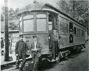 Morgantown and Dunkard Valley Streetcar at the corner of Pleasant Street and University Avenue, ready to run to Cassville, men unidentified.  Copied from Page 20 Morgantown Post Chroncile, Industrial Supplement, January 16, 1913.