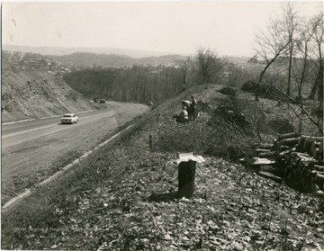 A view of Monongahela Boulevard. Three men appear to be chopping wood to the right.