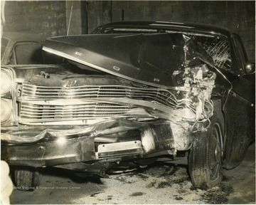 A Ford totaled in a car accident.