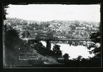 View from Westover. The Westover Bridge and several West Virginia University buildings are shown in this photograph.