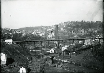 Walnut Street Bridge and Monongahela Power Company in Morgantown, West Virginia.