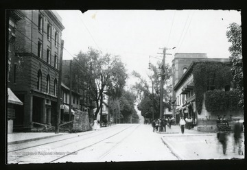 A view of High Street and Chancery Row in Morgantown, West Virginia.