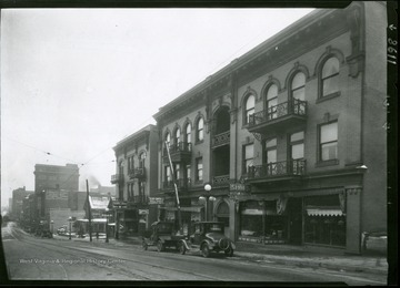 A view of High Street, corner of Willey Street, looking southwest, showing I. C. White buildings in Morgantown, West Virginia.