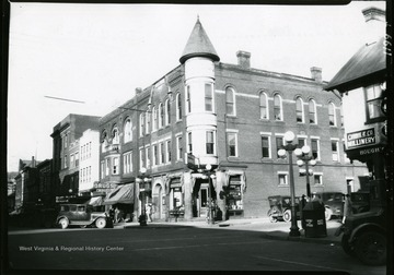 A view of the corner of High and Pleasant Streets, showing Brock, Reed, and Wade Building in Morgantown, West Virginia.