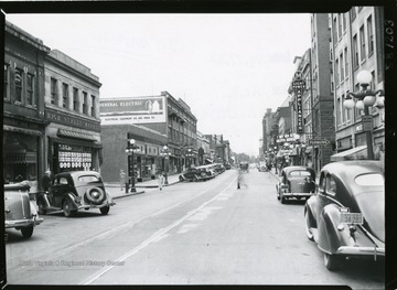A view of High Street in Morgantown, West Virginia looking south.