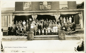 A group portrait of participants of the Kiwanis Father and Son Day on June 8, 1932 in Morgantown, West Virginia.