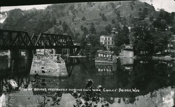 Next to the Gauley bridge, you can see piers that were destroyed during the Civil War.