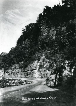 High cliffs east of Gauley Bridge on Route 60 at Gauley Junction.