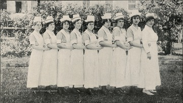 Group portrait of the McKendree Hospital Nurses in Fayette County.
