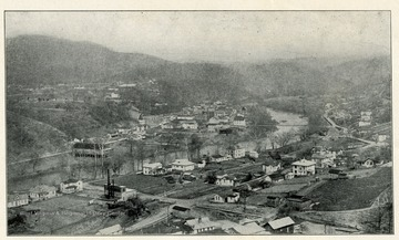 'Plate II - Showing the Town of Sutton, County-Seat of Braxton, looking East up the Elk River, and topography of Conemaugh and Allegheny series'