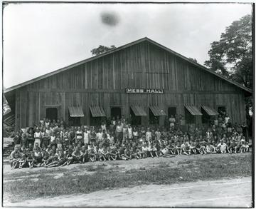 Camp Greenbrier boys gather in front of the Mess Hall for a group portrait.