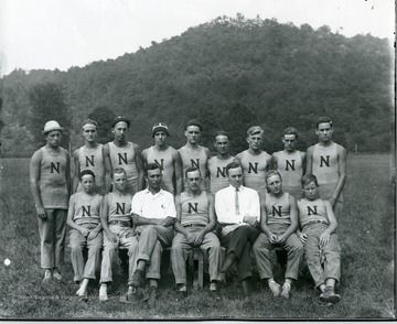 Group portrait of Camp Greenbrier boys and counselors in Greenbrier County, near Alderson. The 'N' probably means Norfolk, home of some of the campers.