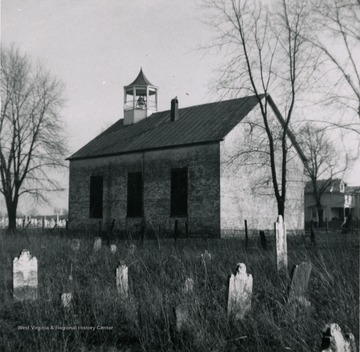 View of a church and graveyard at Middleway. It was formerly Smithfield, West Virginia.