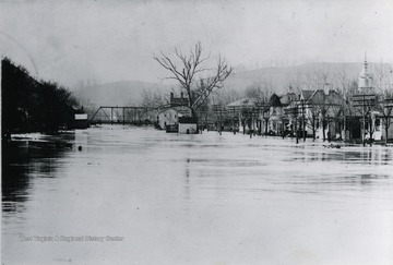 A view of the flood and its damage in Weston.  Photograph given to Dr. Core by A. C. Shively, dec'd.