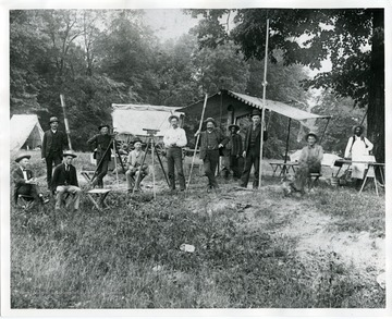 'Baltimore and Ohio Railroad Surveying Party south of Weston, West Virginia, surveying for the Weston to Richwood railroad.'