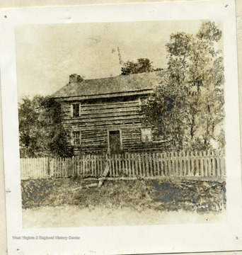'Home of Jesse Hughes. Located at the mouth of Jesse's Run, Lewis County, West Virginia. This edifice is no longer standing.'