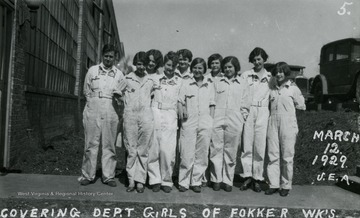'Covering Department Girls of Fokker Wks.'