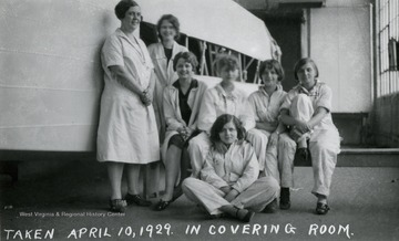 A group portrait of some of the girls who worked in the covering room of Fokker Plant.
