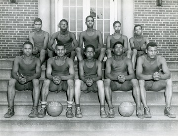 Group portrait of the basketball team at the West Virginia Industrial School for Colored Boys in Lakin.
