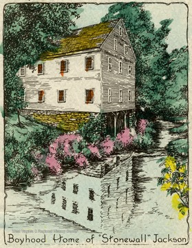 A drawing of the 'Boyhood Home of 'Stonewall' Jackson'.